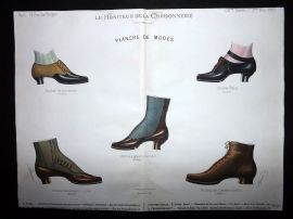 Le Moniteur de la Cordonnerie 1887 Rare Hand Colored Shoe Design Print 68